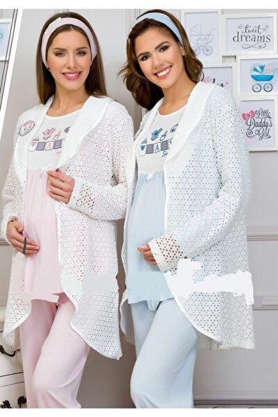 Haluk Bayram Kadın Mavi İnce Lizöz Sabahlıklı Lohusa Pijama Takımı