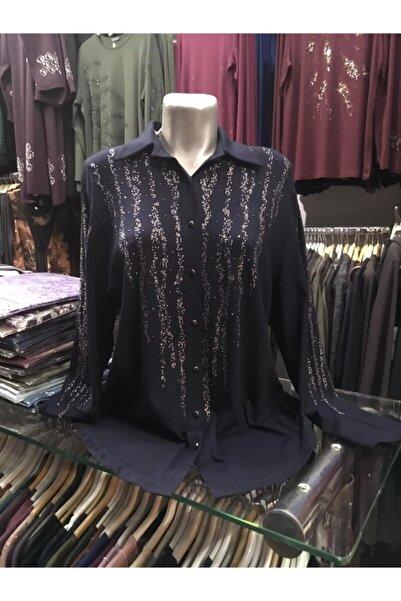 REYYAN Kadın Lacivert Triko Kadın Işlemeli Gömlek