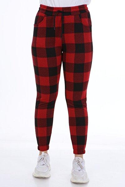 Rodi Jeans Kadın Kırmızı Geometrik Desenli Lastik Paça Pantolon Ds21kb018221