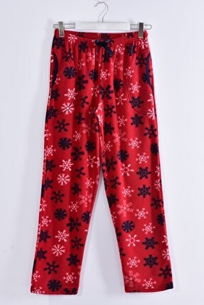 Kadın Bordo Büyük Beden Cepli Welsoft Polar Pijama Tek Alt 245-03
