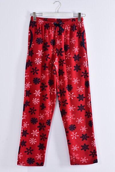 Pemilo Kadın Bordo Büyük Beden Cepli Welsoft Polar Pijama Tek Alt 245-03
