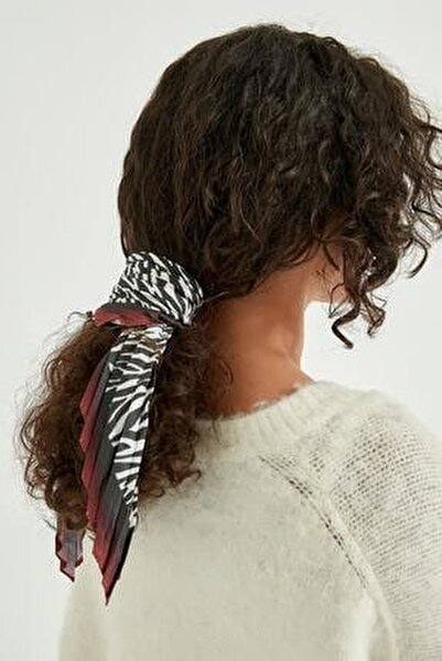 13441-1 Zebra Desenli Pliseli Fular