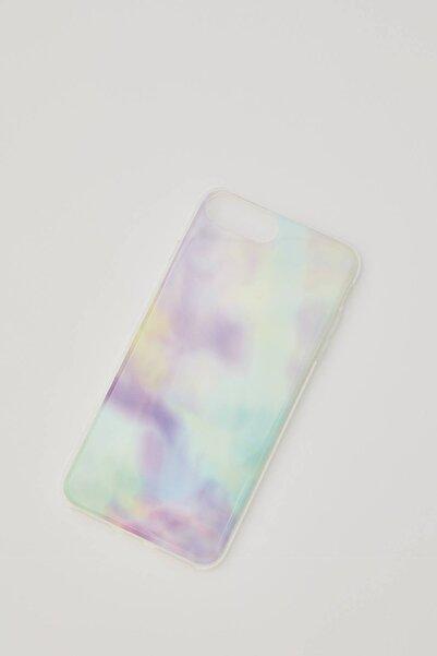 Pull & Bear Kadın Neon Yeşil Çok Renkli Mermer Desenli Cep Telefonu Kılıfı 04970328
