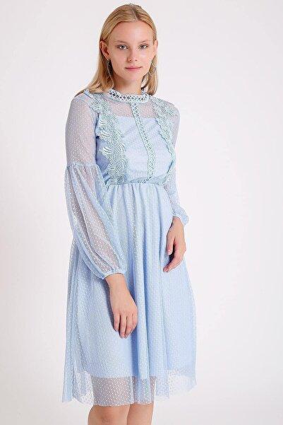 Elbise Delisi Kadın Bebek Mavisi Puantiyeli Güpür Detaylı Elbise