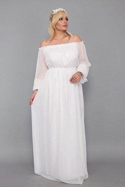 Moda Labio Dökümlü Büyük Beden Beyaz Elbise