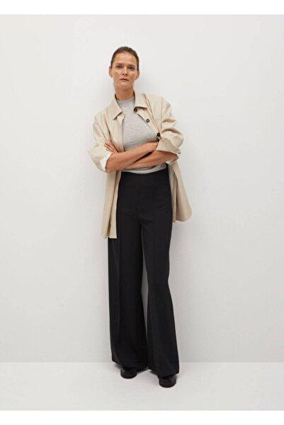 MANGO Woman Kadın Siyah Pili Detaylı Pantolon