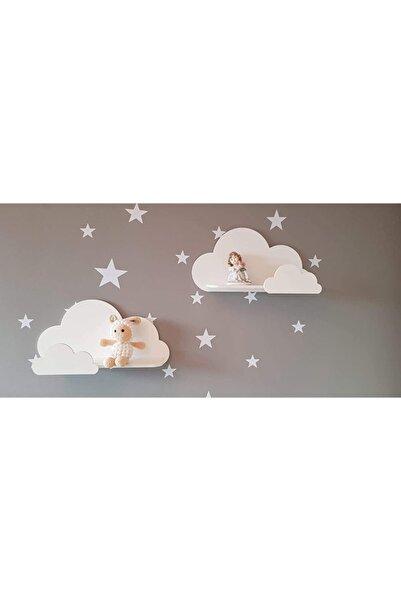 BugyBagy Beyaz Dekoratif 2'li Bulut Raf Seti 40x23 cm
