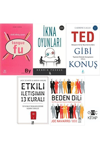 Alfa Yayınları Sözlü Iletişim beden Dili İkna 5 Kitap Set Tongue Fu Ted Gibi Konuş Etkili Iletişim