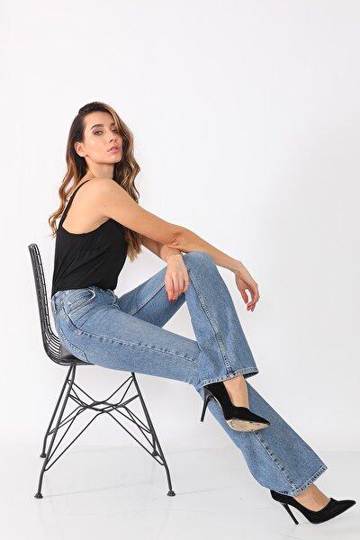 Darkly Jeans Kadın Mavi 90s Vintage Ispanyol Paça Jeans