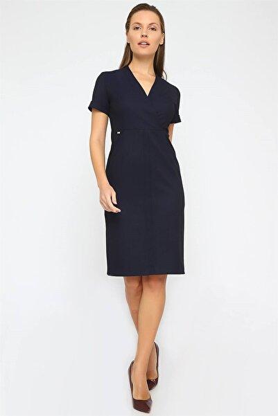 Chima Kadın Lacivert Kruvaze Kısa Kol Elbise K20EL172