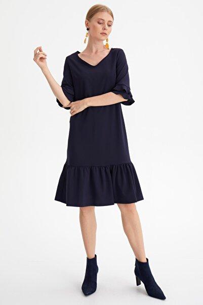 Chima Kadın Lacıvert Eteği Volanlı Elbise K20EL169