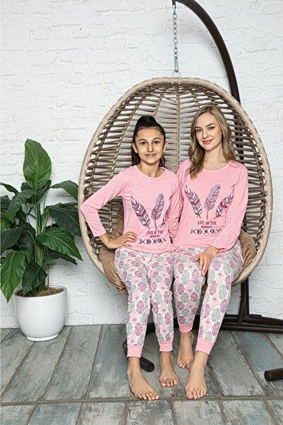 RİNDA Kadın Pembe Yaprak Desenli Anne Kız Pijama Takımı