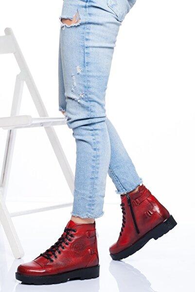 derithy Kadın Kırmızı Hakiki Deri Bot Nayrobi Atk2950