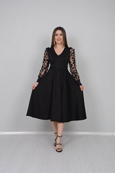 giyimmasalı Scuba Kumaş Kolları 3 Boyutlu Çiçekli Elbise - Siyah