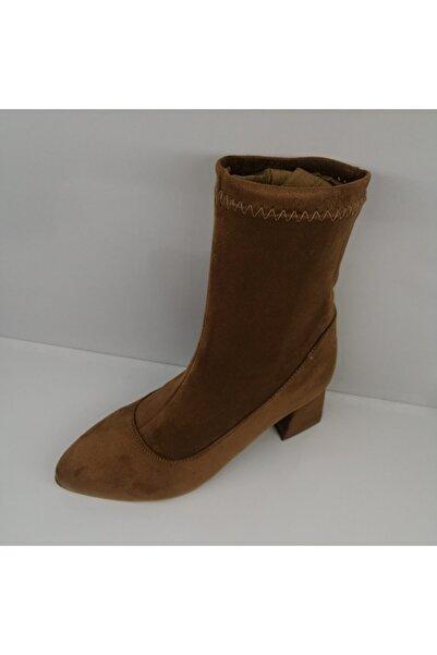 bağcık ayakkabı Kadın Taba Süet Çorap Bot