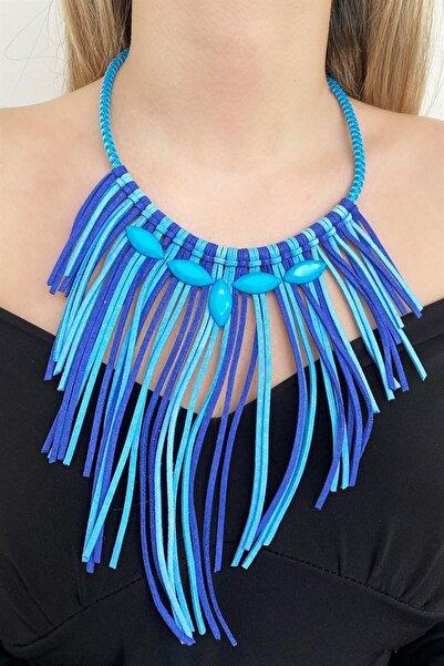 TAKIŞTIR Kadın Mavi Renk Özel Tasarım Kolye