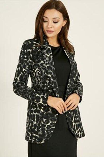 Sateen Kadın Kahverengi Leopar Desen Blazer Ceket