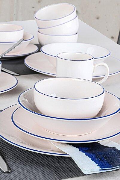 Keramika Blue Line Krem Yemek Takımı 30 Parça 6 Kişilik