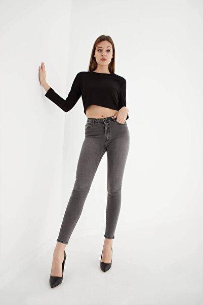 Fashion Friends Yüksel Bel Skinny Fit Jean Pantolon Gri