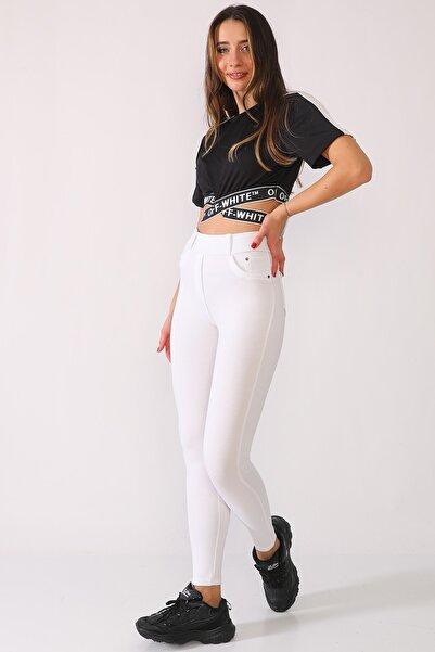 Alışveriş Sokağı Kadın Beyaz Kot Görünümlü Yüksek Bel Tayt