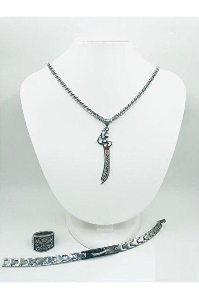 Black Magic Bijuteri Gümüş Zülfikar Kolye Bileklik Yüzük Çelik Set