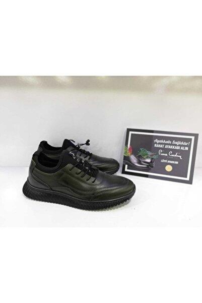 Pierre Cardin Erkek Hakiki Deri Haki Yeşil Sneakers Ayakkabı 2103