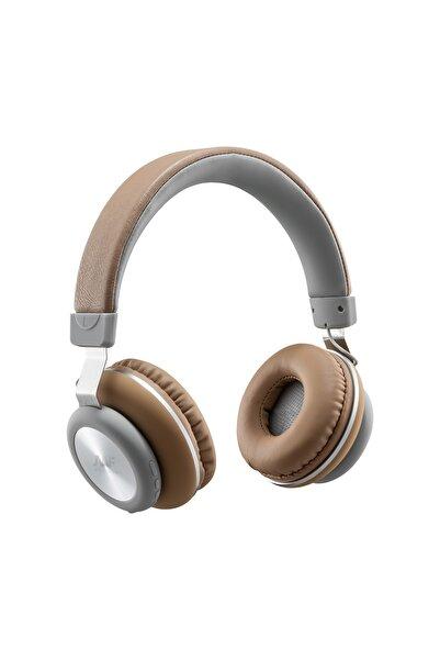 MF PRODUCT Acoustic 0125 Mikrofonlu Kulak Üstü Kablosuz Bluetooth Kulaklık Kahverengi