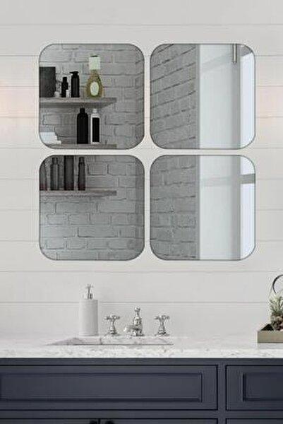 4 Lü Köşeleri Yuvarlak Kare Füme Ayna 36x36 Cm