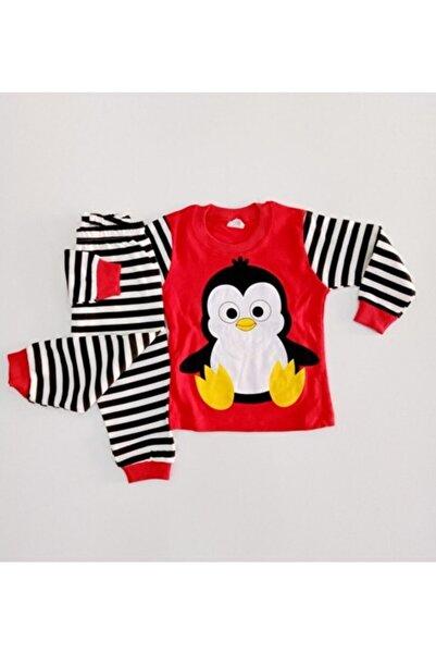 Süpermini Bıcır Bebek Penguen Baskılı Alt Üst Mevsimlik Pijama Takımı