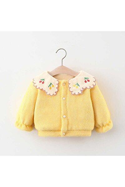 Little Honey Bunnies Kiraz Yaka Detaylı Polarlı Sarı Ceket
