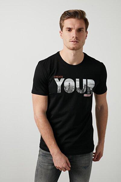 Buratti Erkek SİYAH Ön Beden Baskılı Bisiklet Yaka Pamuklu T Shirt 5721004