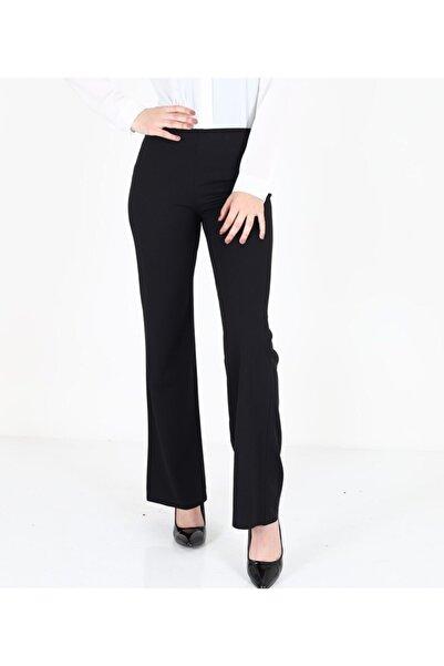 Arboletti Kadın Siyah Cab Dalgıç Kumaş Geniş Paça Pantalon