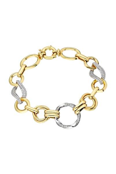 Chavin Hallow Altın Modeli Mikron Kaplama Gümüş Bileklik Ea73