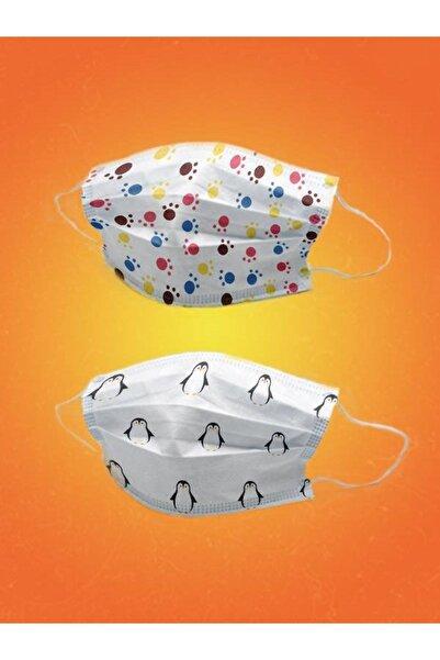 YUSUF MEDİCAL 100 Adet Cerrahi Çocuk Maskesi Meltblownlu- Pati Ve Penguen Desenli