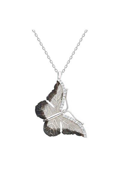 Chavin Çift Renk Taşlı Kelebek Gümüş Kolye Dz54by