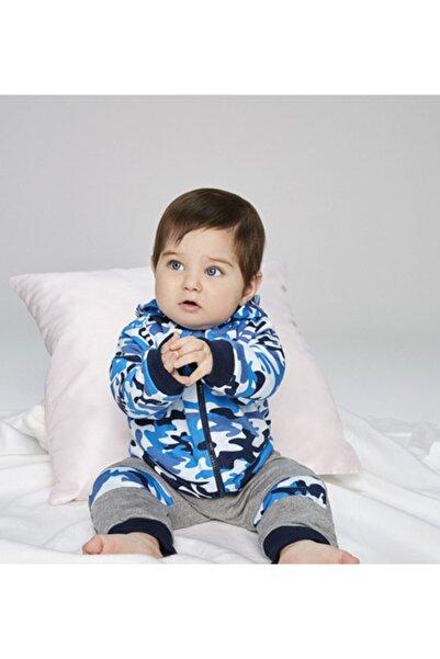 Wonder Kıds Erkek Bebek Mavi Baskılı Sweatshirt WK19AW1106