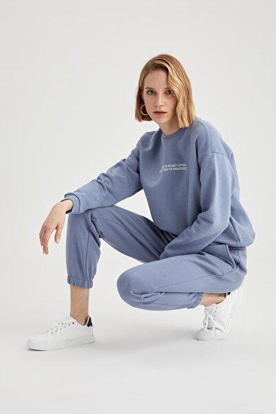 DeFacto Kadın Mavi Beli Lastikli Relax Fit Jogger Eşofman Altı