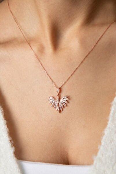 Kadın Anka Kuşu Model Rose Kaplama 925 Ayar Gümüş Kolye