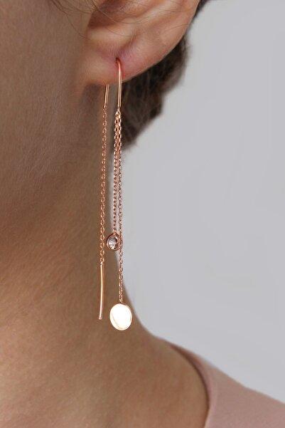 Argentum Concept Kadın Gümüş Tasarım Rose Zincir Küpe K041401