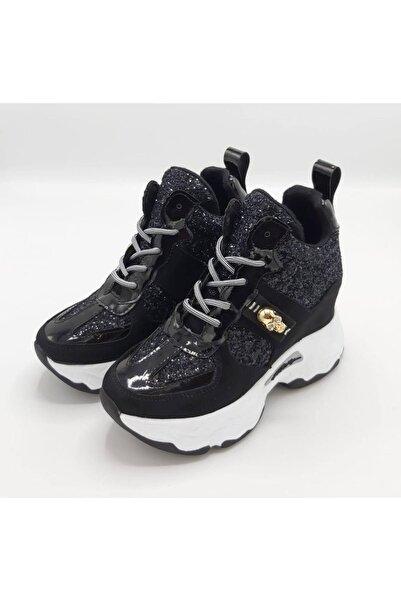 CassidoShoes Hakiki Deri Gizli Dolgu Taban Simli Özel Tasarım Siyah Süet Spor Bot