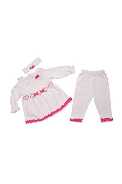 ayyıldız bebe Kalpli Fırfırlı Kız Bebek Takımı