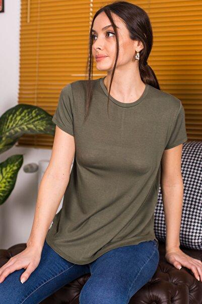 armonika Kadın Haki Önü Kısa Arkası Uzun Kısa Kol Salaş T-Shirt ARM-21Y042004