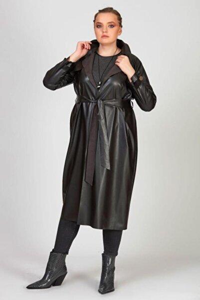 Femina Kadın Siyah Büyük Beden Suni Deri Trençkot Ceket Yt43850