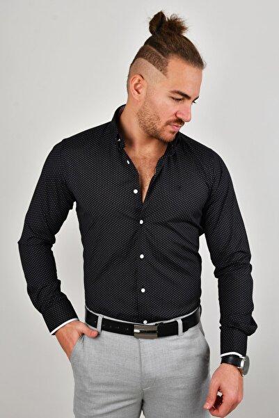 DeepSEA Erkek Siyah Kol Düğmeli Gömlek