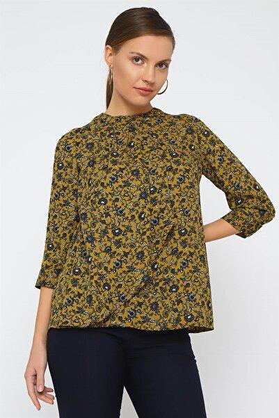 Chima Kadın Yeşil Önü Pilili Bluz K20BL094