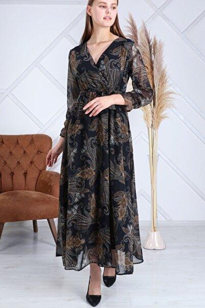 Elbise Delisi Kadın Siyah Etnik Desen Kruvaze Yaka Şifon Elbise