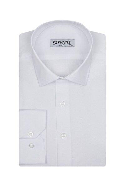 SÜVARİ Slim Fit Armür Desenli Beyaz Erkek Gömlek