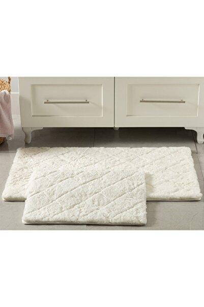 English Home Rabbit Polyester Banyo Paspası Seti 60x100 - 50x60 Cm Beyaz