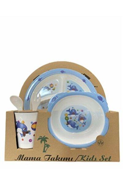 Veletto Melamin Bebek Mama Yemek Tabağı Kabı Bardak Kaşık 5li Set Yunus Desenli
