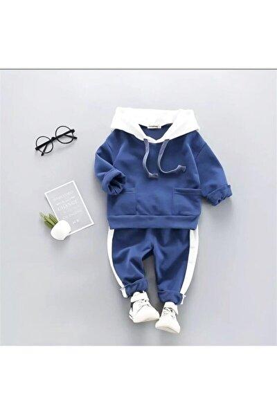 Beren Kids Kapşonlu Mavi Bebek Alt Üst Takım